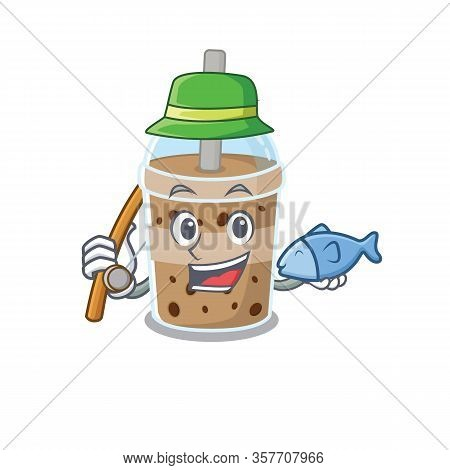 A Picture Of Funny Fishing Chocolate Bubble Tea Design