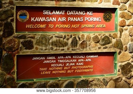 Sabah, My - June 18: Poring Hot Spring Welcome Sign On June 18, 2016 In Sabah, Malaysia. Poring Is S