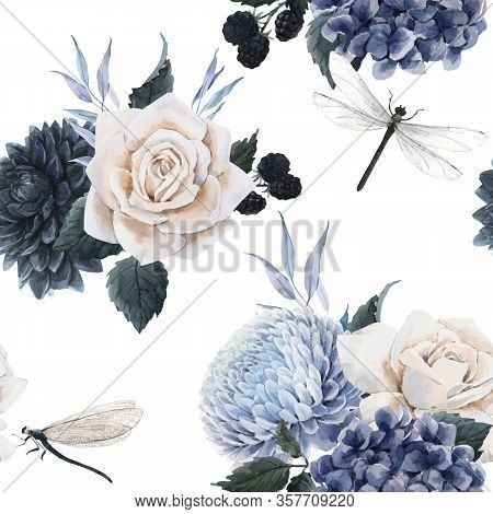 Beautiful Vector Seamless Floral Pattern With Watercolor Blue Flowers, White Roses And Dragonflies .