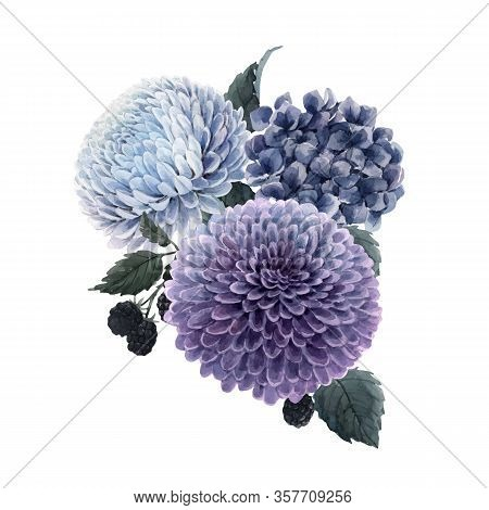 Beautiful Vector Bouquet Composition With Watercolor Blue Hydrengea And Dahlia Flowers And Blackberr