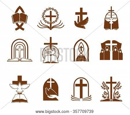 Christian Religion Vector Icons With Crosses, Bibles And Doves Of God. Jesus Christ Crucifix, Prayer