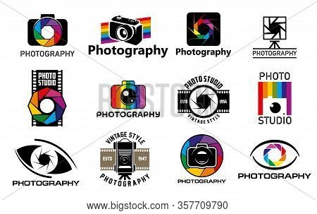 Photo Studio Camera With Lens Shutter Vector Icons. Digital And Vintage Photography Cameras, Profess