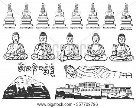 Buddhism Religion Symbols With Vector Sketches Of Buddha Statues With Different Hand Positions Or Mu