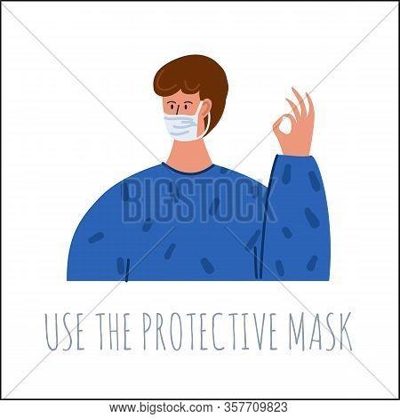 Coronavirus 2019-ncov, Covid-19 Preventions Concept. Man In Medical Facial Mask. Flu, Cold, Contamin