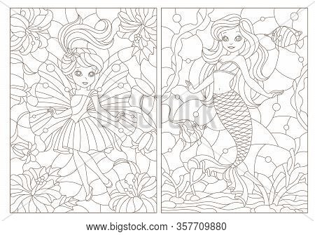 Set Of Contour Illustrations Of Stained Glass Windows With Fairy-tale Characters, Mermaid And Fairy,
