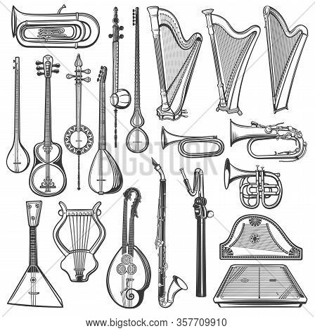 Musical Instruments, Vector Sketch. Isolated Harps, Tuba, Bugle And Clarinet, Trumpet, Vintage Lyre,