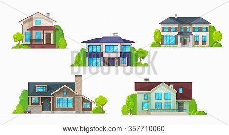 Real Estate Building Vector Icons Of Residential Houses, Homes And Cottages, Bungalows, Townhouses,