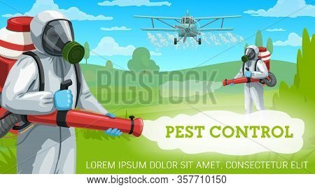 Agricultural Pest Control Vector Design. Exterminators And Crop Duster Airplane Spraying Pesticides