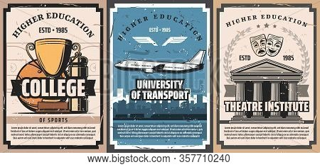 Higher Education Vector Design With University Of Transport, College Of Sport And Theatre Institute