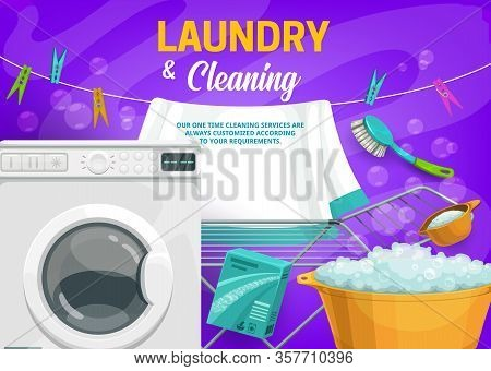 Laundry And House Cleaning Vector Design Of Washing Machine, Detergent Powder And Plastic Wash Basin