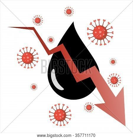 Covid-19 Pandemic Impact On Global Crude Oil Price. Downward Graph With Crude Oil Symbol.
