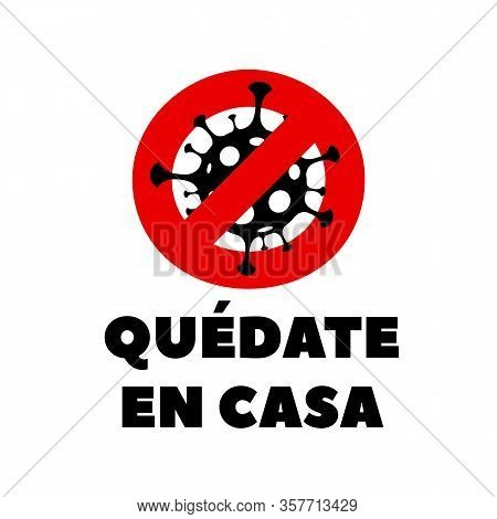 Spanish Covid-19 Coronavirus Poster. Coronavirus Covid-19 Virus Symbol. Covid-19. Icon. Novel Corona