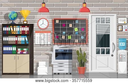 Office Building Interior. Door, Lamp, Books Document Papers. Modern Business Workspace. Drawer Tree,