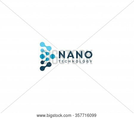 Abstract Nano Icon, Blue Circles In Semicircle. Dotted Logo Template, Flat Abstract Emblem. Concept