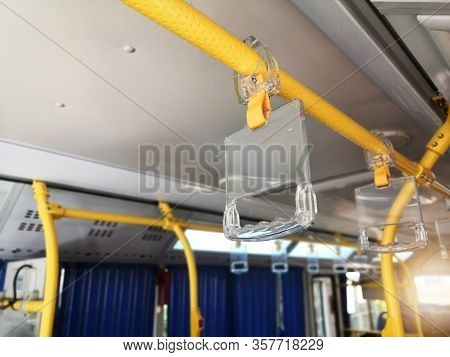 Clear Plastic Bus Grab Handle.clear Plastic Hanging Handhold For Standing Passengers In A Modern Bus