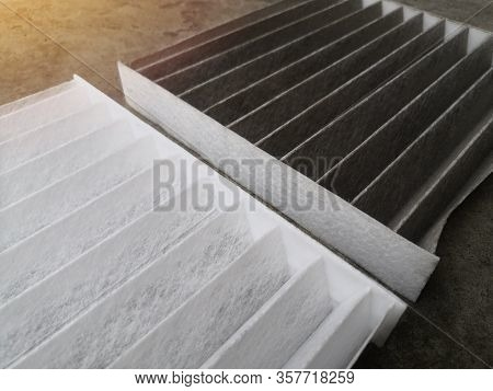 Clean And Dirty Air Filter For Air Condition In Car.comparison Between New And Used Air Filter For C