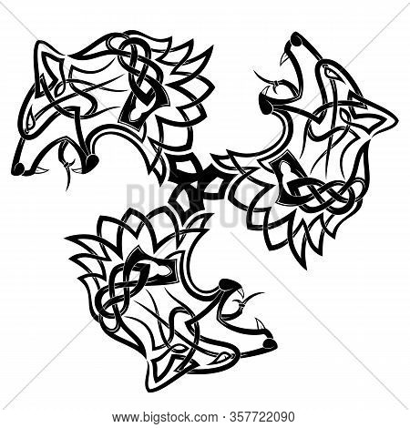 Sacred Sign Of Vikings. Three Animals. Ancient Nordic Style. Triskelion. Triskele. Vector Illustrati