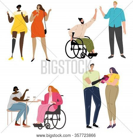 Set Of Disabled People With Prostheses And Wheelchairs. Vector Illustration In Flat Cartoon Style