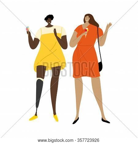 Girl With Prosthetic Leg Eating Ice Cream With Her Friend. Vector Illustration In Flat Cartoon Style