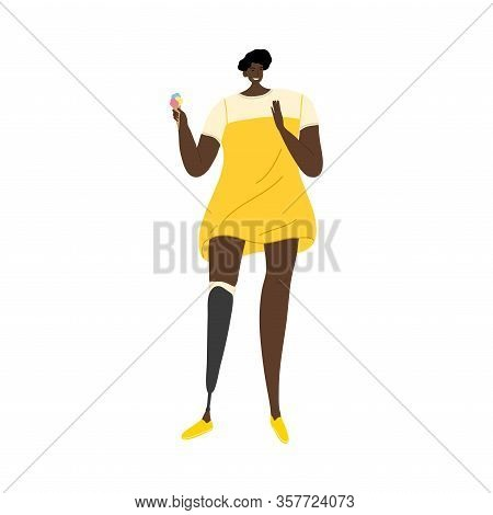 Girl In Yellow Dress With Prosthetic Leg Eating Ice Cream. Vector Illustration In Flat Cartoon Style
