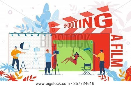Cinematography Industry, Video Content Production Company, Movie Making Team Work Trendy Flat Vector