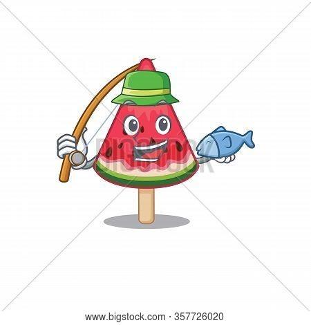 A Picture Of Funny Fishing Watermelon Ice Cream Design