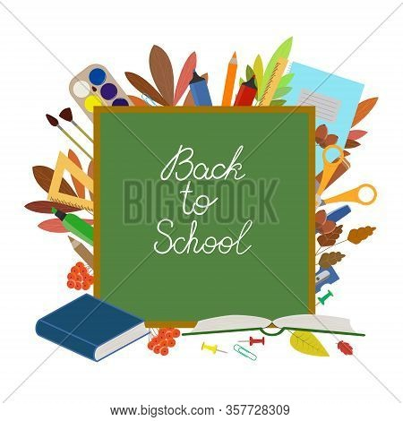Back To School. Banner Template, Sale Advertisement. Blackboard, Lettering. Text Back To School. Sch