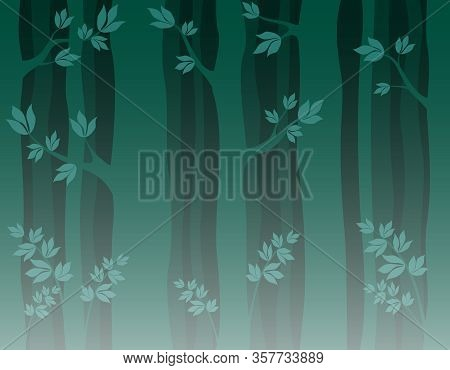 Trunks Of Trees With Branches And Leaves . Seamless Pattern Dark Wilde Forest. Vector Illustration