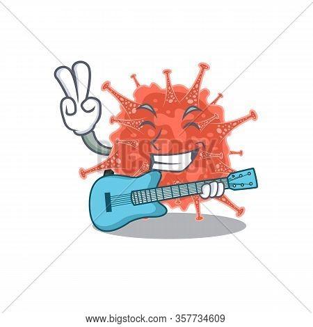 Supper Cool Orthocoronavirinae Cartoon Playing A Guitar