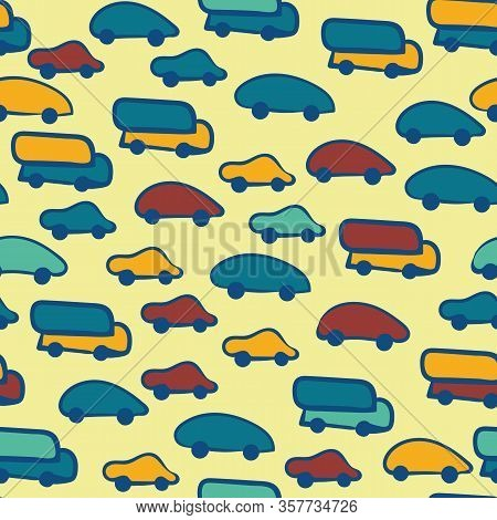 Colorful Childish Cars And Trucks Seamless Vector Pattern. Yellow, Teal, Blue And Red Vehicles Seaml