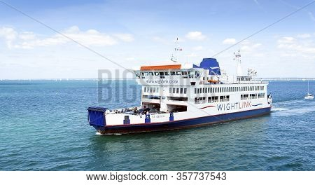 Fishbourne, Isle Of Wight, Uk - July 11, 2015: Wightlink Ferry St Cecilia Sailing From Fishbourne In
