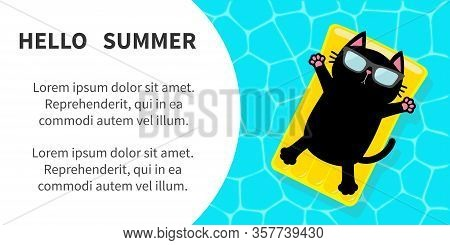 Black Cat Floating On Yellow Pool Float Water Mattress. Swimming Pool. Top Air View. Pool Paty. Hell