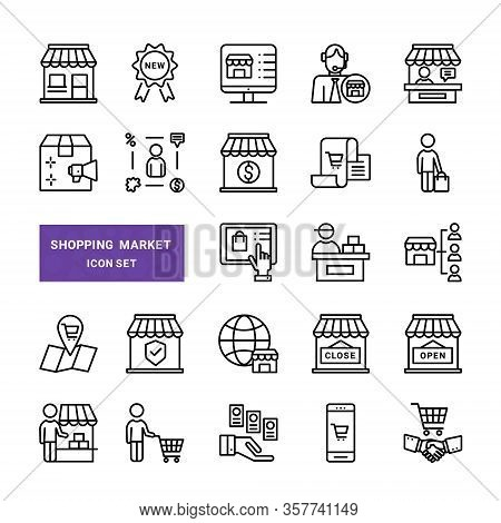 Set Of Shopping And Market Vector Line Icons. Include Such Icons  As Store, Buyer, E-commerce
