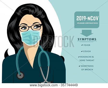 Doctor With Mask Explain The Symptoms Of Coronavirus. Covid-19. Vector.