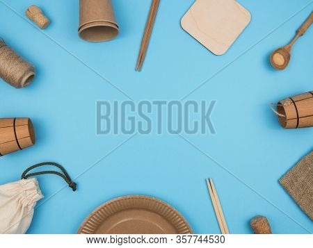 Items, Kitchen And Household Made Of Ecological Materials On A Blue Background. The View From The To