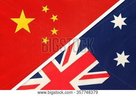 China Or Prc Vs Australia National Flag From Textile. Relationship Between Asian And Oceania Countri