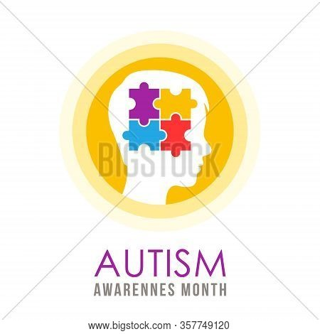 World Autism Day, April 2. Autism Concept  Illustration With Child Head And Puzzle Pieces. Vector Fl