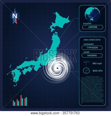 Weather Forecast Map Of Japan With Typhoon Hagibis Or Tornado. Editable Infographic Template With Di