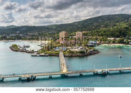 Ocho Rios, Jamaica - April 22, 2019: Cruise Port In The Tropical Caribbean Island Of Ocho Rios, Jama