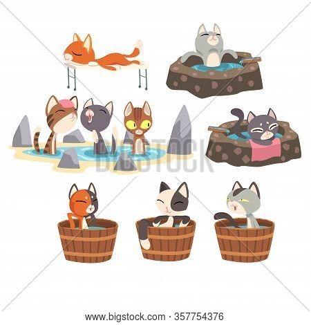 Funny Cats Taking An Onsen Bath Set, Cute Pet Animals Enjoying Japanese Hot Spring Bath Vector Illus