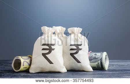 Indian Rupee Money Bags. Capital Investment, Savings. Economics, Lending Business. Banking Service,