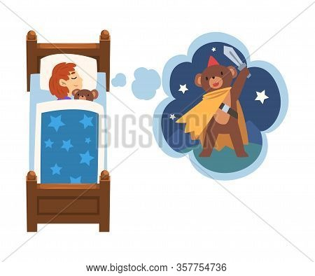 Cute Girl Sleeping In Bed And Dreaming About Bear Superhero With Sword, Kid Lying In Bed Having Swee