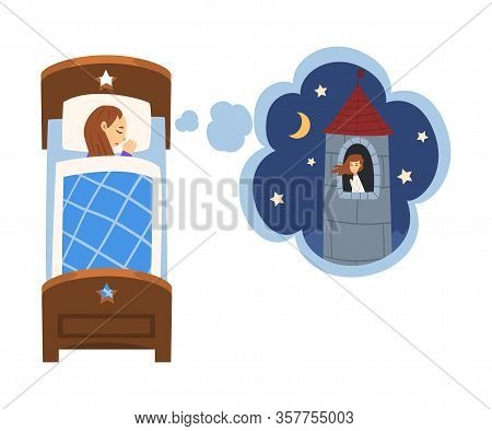 Cute Girl Sleeping In Bed And Dreaming About Princess Sitting In Castle Tower, Kid Lying In Bed Havi