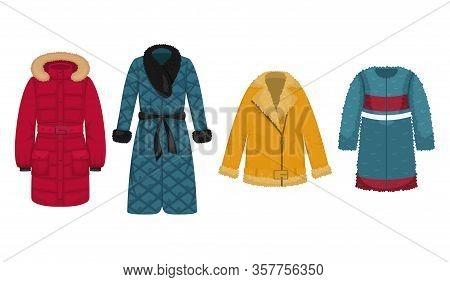 Set Of Flat Vector Women's Outerwear. Sheepskin Coat, Faux Fur Coat, Down Jacket, Quilted Coat.