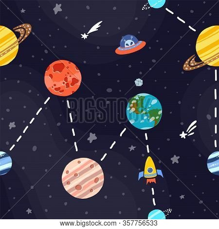 Cosmic Fabric For Kids. Bright Childish Tile. Cute Design For Kids Fabric And Wrapping Paper. Space