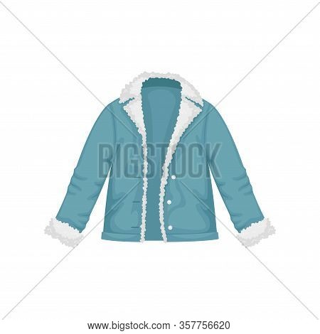 Flat Vector Women's Denim Jacket With Fur. Women's Clothing.