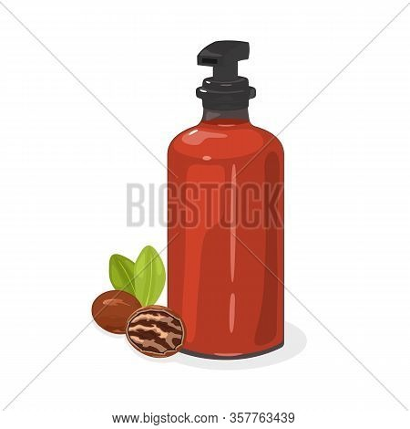 Pecan Nut With Green Leaves Whole And Without Shell Are Next To Red Pump Glass Container Containing