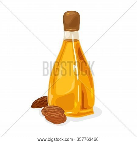 Almond Nuts Are Near Glass Bottle With Yellow Oil Closed By Brown Plastic Cap. Antioxidants, Fatty A