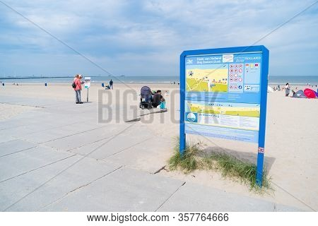 Hoek Van Holland, Netherlands - May 21, 2018: Shield With The Most Important Information For Visitor
