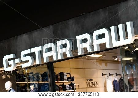 Bordeaux , Aquitaine / France - 09 24 2019 : Sign G-star Raw Logo G-star Shop